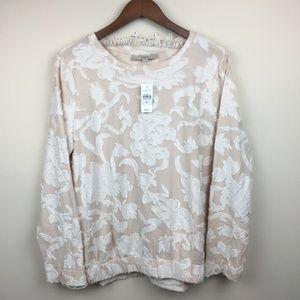 NWT LOFT Textured Floral Gathered Cotton Top XL